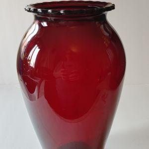 Vintage Ruby Red Hoover Vase